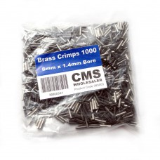 8mm Brass Crimps - 1.4mm Bore - (1000)