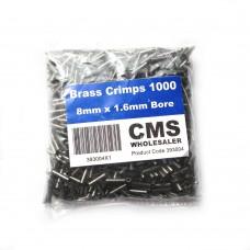 8mm Brass Crimps - 1.6mm Bore - (1000)