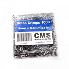 8mm Brass Crimps - 0.8mm Bore - (1000)