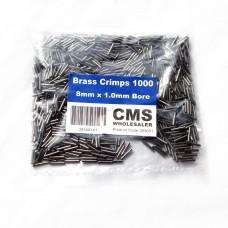 8mm Brass Crimps - 1.0mm Bore - (1000)